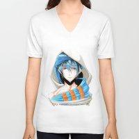 iwatobi V-neck T-shirts featuring Free! Iwatobi Swim Club Haruka by Mistiqarts