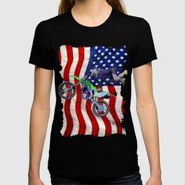 High Flying Freestyle Motocross Rider & US Flag T-shirt