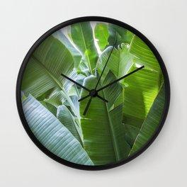 Banana Leaves   Green   Home Decor   Art Print   Tropical Plant Wall Clock