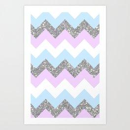 purple & teal glitter chevron Art Print