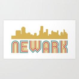 Vintage Style Newark New Jersey Skyline Art Print