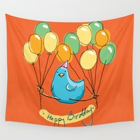 happy birthday Wall Tapestries featuring Happy happy funny Birthday! by Cemile Pecquet