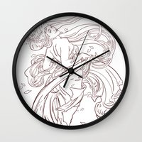 mucha Wall Clocks featuring Mucha Inspired by Jon Cain