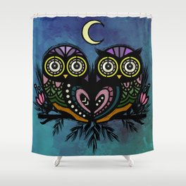 A Perfect Pair Of Midnight Moonlit Owls Shower Curtain