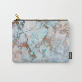 Rose Marble with Rose Gold Veins and Blue-Green Tones Carry-All Pouch