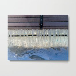 Icicles on a bench Metal Print