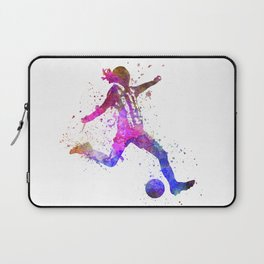 Girl playing soccer football player silhouette Laptop Sleeve