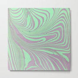 Violet mint green abstract watercolor marble Metal Print