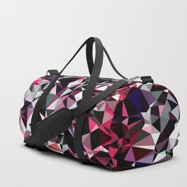 geometric triangle polygon pattern abstract in red pink black Duffle Bag