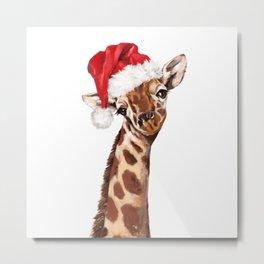 Christmas Giraffe Metal Print