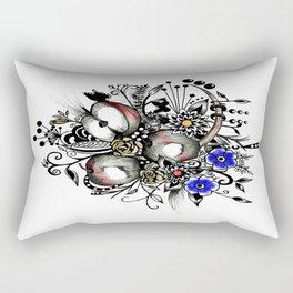 Pen and Ink Drawing --APPLES---colorful art, watercolor art, digital art Rectangular Pillow