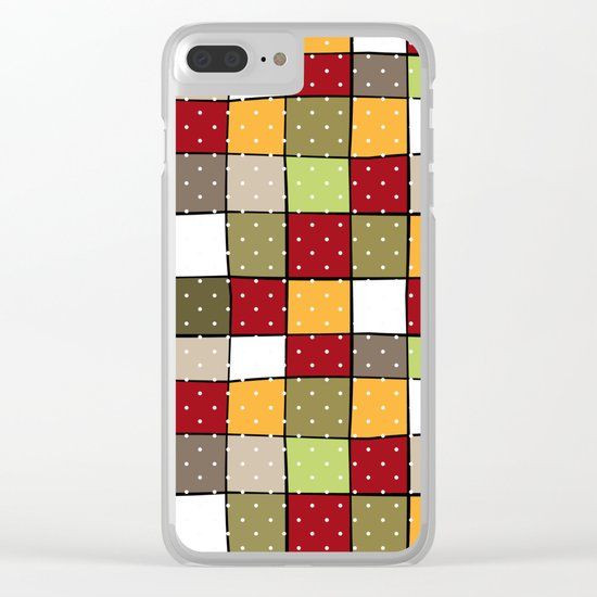 Retro . Squares with polka dots . Clear iPhone Case