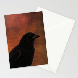 Crow Portrait In Black And Orange Stationery Cards