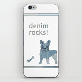 Denim Rocks French Bulldog iPhone Skin