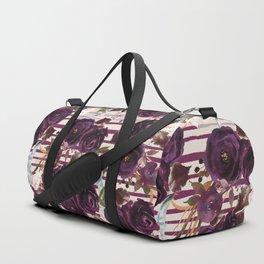 Watercolor ivory purple burgundy brown floral stripes Duffle Bag