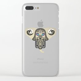 Hamsa Elephant Ying Yang Tree A403 Clear iPhone Case