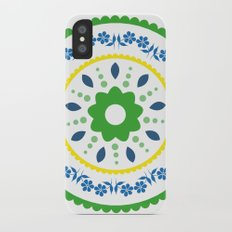 Green suzani inspired floral round placement iPhone X Slim Case