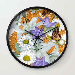 Butterfly Weed and Monarchs Wall Clock