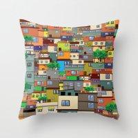 rio de janeiro Throw Pillows featuring Favela, Rio de Janeiro by Rceeh