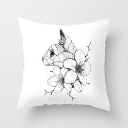 Sphynx cat & Sakura Blossoms Throw Pillow