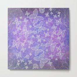 Wonderland Butterflies - purple Metal Print