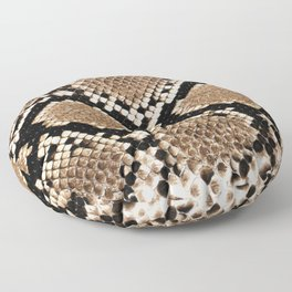 Pastel brown black white snakeskin animal pattern Floor Pillow