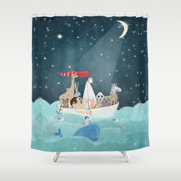 little nautical explorers Shower Curtain