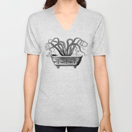 Tentacles in the Tub | Octopus | Black and White Unisex V-Neck