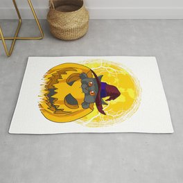 Cute and Scary Kitten In Pumpkin with Witch Hat Rug