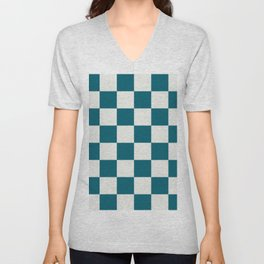 Off White and Tropical Dark Teal Inspired by Sherwin Williams 2020 Trending Color Oceanside SW6496 Large Checker Board Pattern Unisex V-Neck