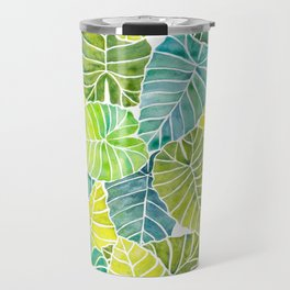 Tropical Leaves Alocasia Elephant Ear Plant Blue Green Travel Mug