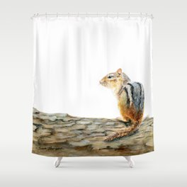 Little Chip - a painting of a Chipmunk by Teresa Thompson Shower Curtain