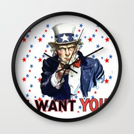 Uncle Sam I Want You With Star Pattern Background Wall Clock