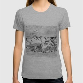 Drawing of Wizard Island in Crater Lake from the Rim T-shirt