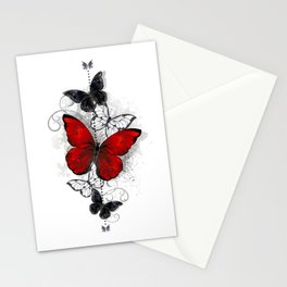 Red and Black Butterflies Stationery Cards