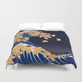 Shiba Inu The Great Wave in Night Duvet Cover