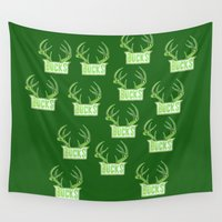 nba Wall Tapestries featuring BUCKS HAND-DRAWING DESIGN by SUNNY Design