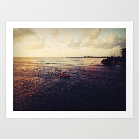 Rowing at Sunset Art Print