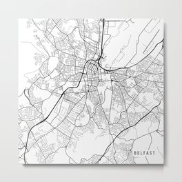 Belfast Map, Northern Ireland - Black and White Metal Print