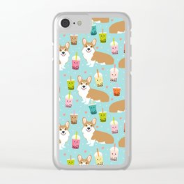 corgi boba tea bubble tea cute kawaii dog breed fabric welsh corgis dog gifts Clear iPhone Case