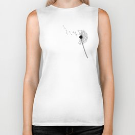 Dandelion Black and White Biker Tank
