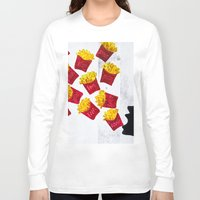 fries Long Sleeve T-shirts featuring Oh fries by Drica Lobo Art