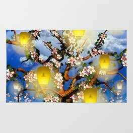 Cherry tree blossom garden with yellow lanterns and moonlight Rug