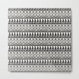 Thai Fabric Patterns - Black and White Metal Print