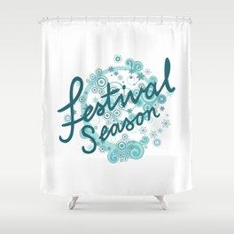 Festival Season Design Teals Shower Curtain