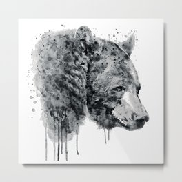 Bear Head Black and White Metal Print