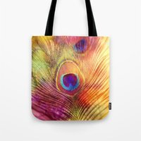 peacock feather Tote Bags featuring peacock feather by Sylvia Cook Photography