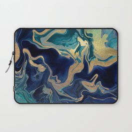 DRAMAQUEEN - GOLD INDIGO MARBLE Laptop Sleeve