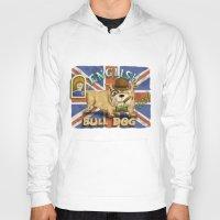 english bulldog Hoodies featuring English Bulldog by Brian Raszka Art & Illustration