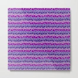 Mosaic Stripes, Purple and Magenta Metal Print